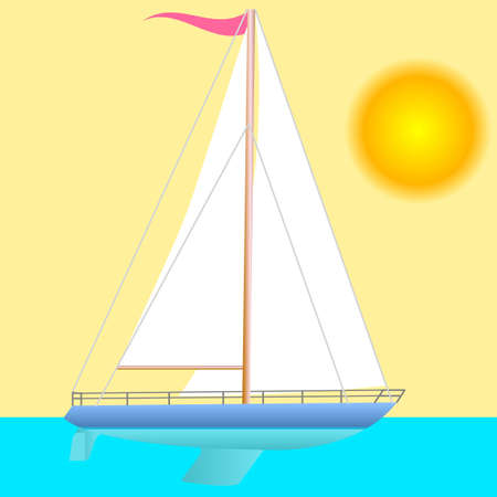 Sailing boat floating. Vector illustration. Stock Vector - 17420594