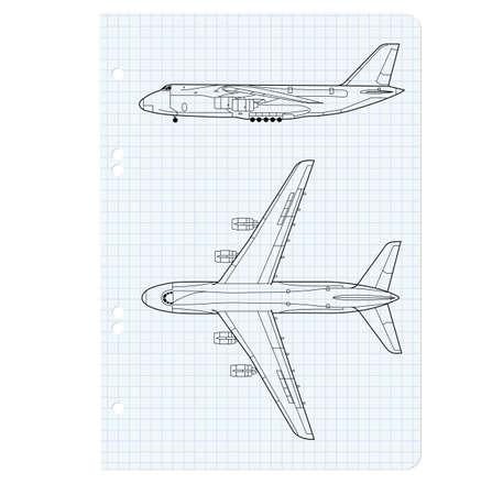 ejercer libro con un dibujo de un modelo de avión. Vector ilustración.