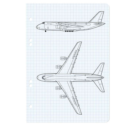 exercise book with a drawing for a model airplane. Vector illustration. Vector