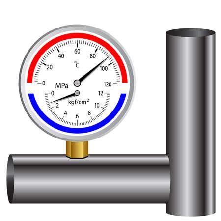 manometro gas isolato su sfondo bianco