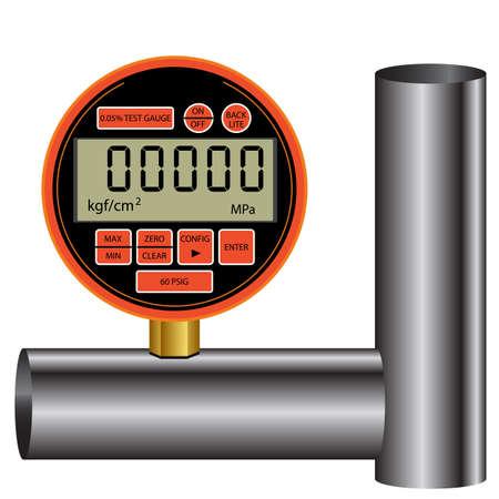 methane: gas manometer isolated on white background