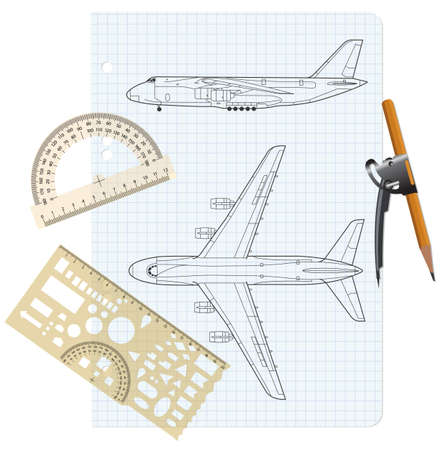 exercise book with a drawing for a model airplane with a protractor and compass. Vector illustration. Vector