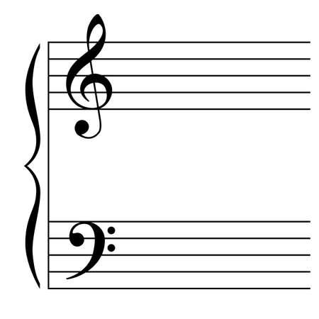 partition musique: Illustration Vecteur de une portée musicale sur fond blanc