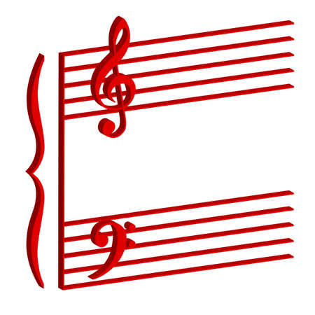 Illustration of a musical stave on white background Stock Vector - 17420633