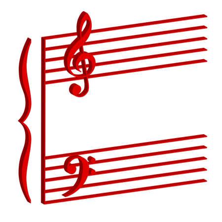 octaves: Illustration of a musical stave on white background Illustration