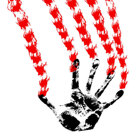 bloody hand prints, on a white background, vector Stock Vector - 17420556
