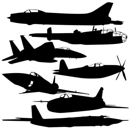 Collection of different combat aircraft silhouettes.   illustration for designers Vector