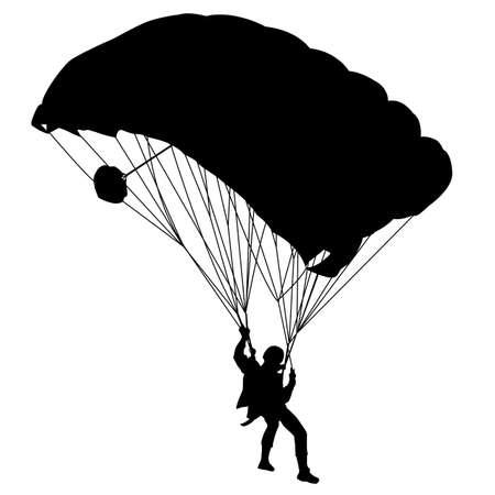 fallschirm: Jumper, schwarzen und wei�en Silhouetten illustration