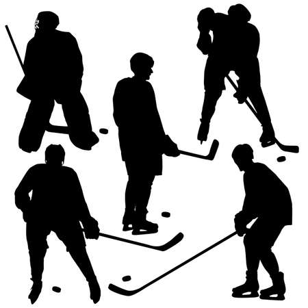 Set of silhouettes of hockey player. Isolated on white.  illustrations. Vector