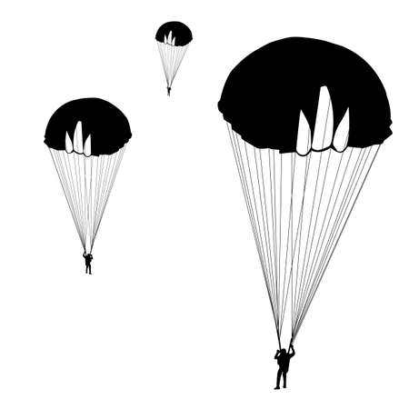 parachute jump: jumper, black and white silhouettes  illustration