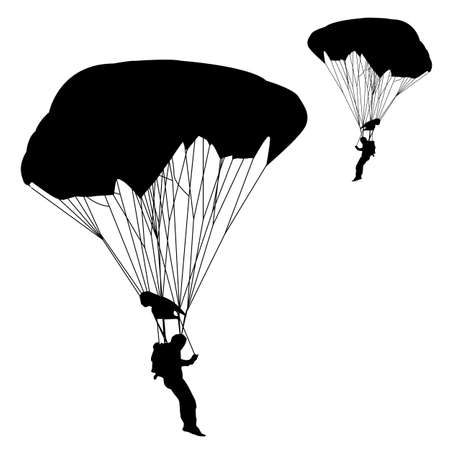 parachuting: jumper, black and white silhouettes  illustration