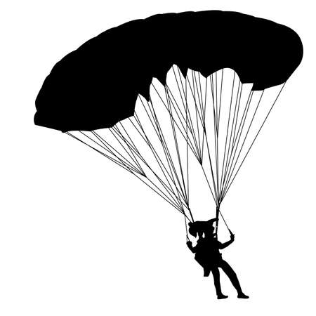 skydiving: jumper, black and white silhouettes  illustration