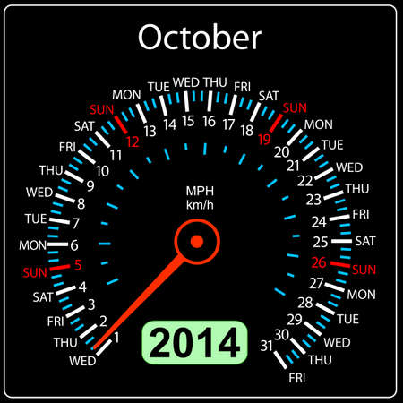 2014 year calendar speedometer car in  October  Vector