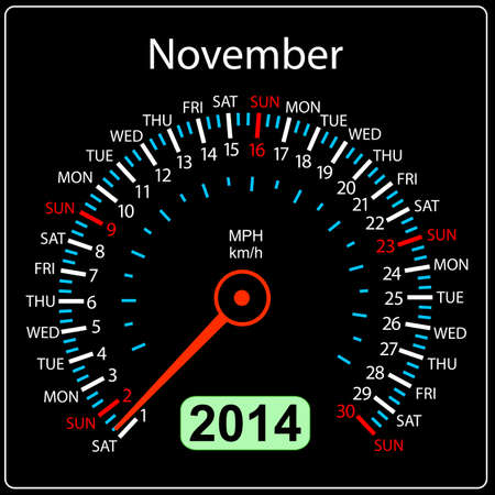 2014 year calendar speedometer car in  November  Stock Vector - 17603320