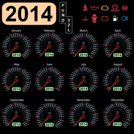 2014 anno di calendario tachimetro auto Archivio Fotografico - 17603330