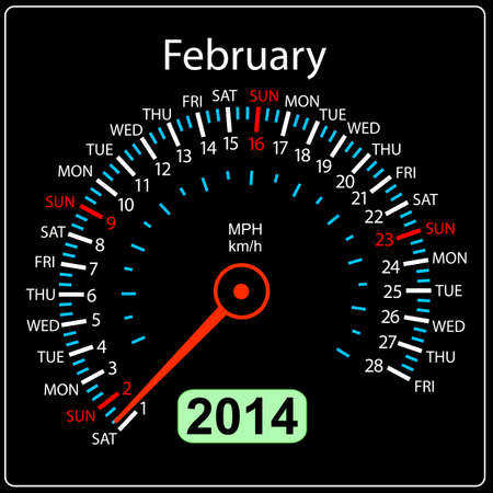 2014 year calendar speedometer car in  February  Vector