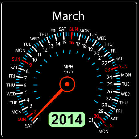 2014 year calendar speedometer car in  March  Stock Vector - 17603332