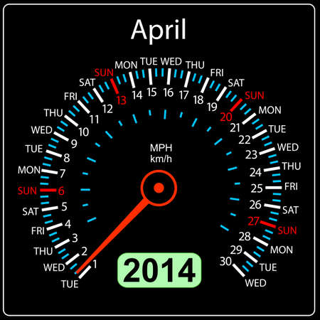 2014 year calendar speedometer car in  April  Stock Vector - 17603311