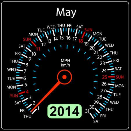 2014 year calendar speedometer car in  May  Stock Vector - 17603314