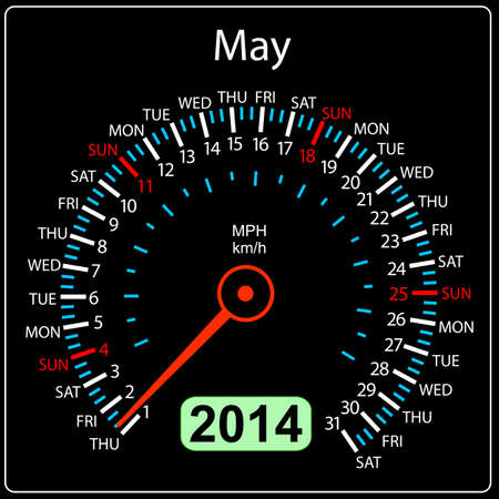2014 year calendar speedometer car in  May Stock Vector - 17603314