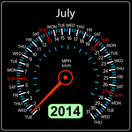 2014 year calendar speedometer car in  July Stock Vector - 17603313
