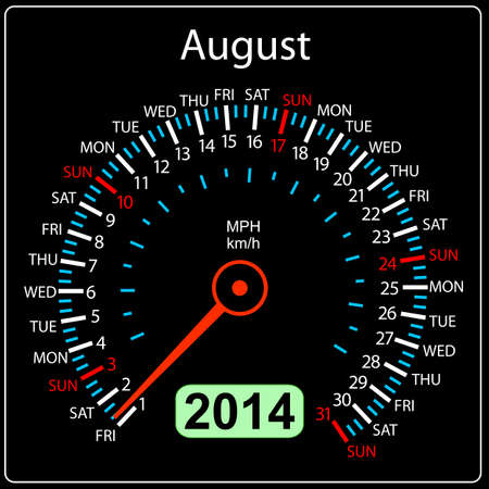 2014 year calendar speedometer car in  August  Stock Vector - 17603319