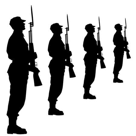 military uniform: Silhouette soldiers during a military parade.  illustration.