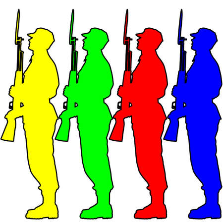 soldier silhouette: Silhouette soldiers during a military parade.  illustration.