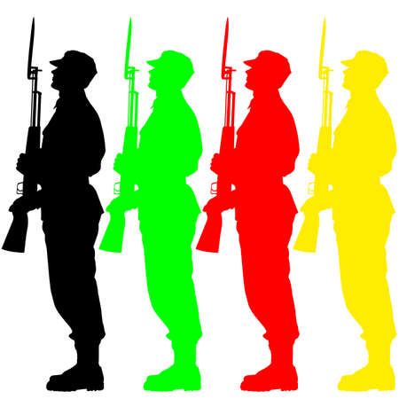 social history: Silhouette soldiers during a military parade.  illustration.