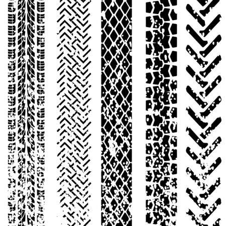 tyre tracks: Conjunto de huellas de neum�ticos detallados, ilustraci�n