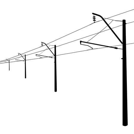dangle: Linee aeree ferroviarie Contatti illustrazione filo