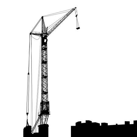 Silhouette of one cranes working on the building   illustration Stock Vector - 17794456