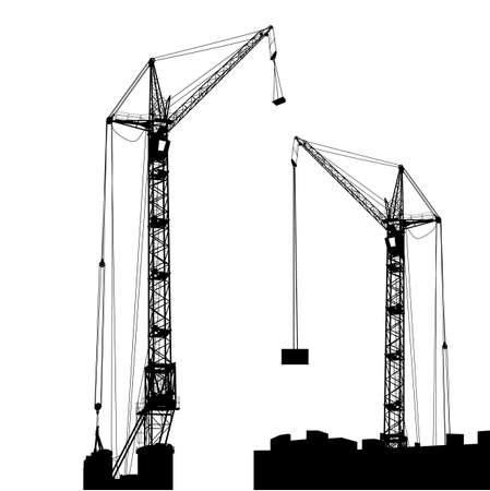 Silhouette of two cranes working on the building   illustration Stock Vector - 17794467