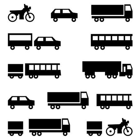 Set of  icons - transportation symbols  Black on white  Cars, vehicles  Car body  Vector