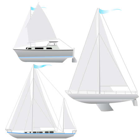 Set sailing boat floating   illustration  Vector