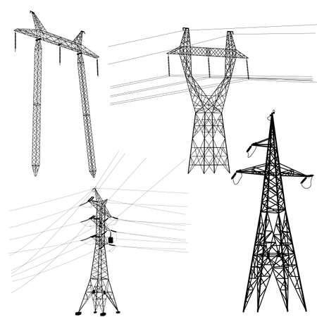powerline: Set silhouette of high voltage power lines   illustration