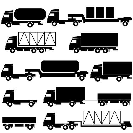 Set of  icons - transportation symbols  Black on white   illustration  Stock Vector - 17794471