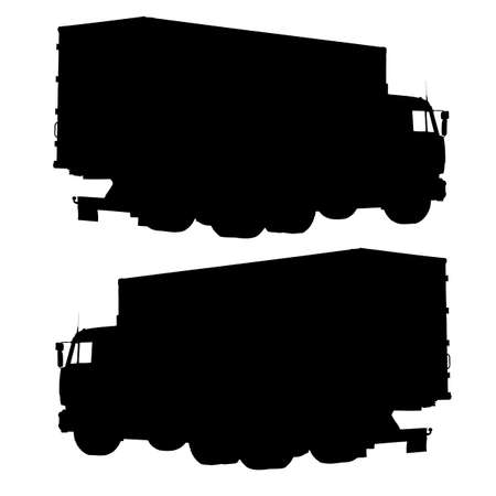 Truck with a container. Silhouette illustration. Stock Vector - 17986684