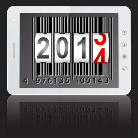 new year counter: White tablet PC computer with 2014 New Year counter, barcode isolated on black background  illustration.  Illustration