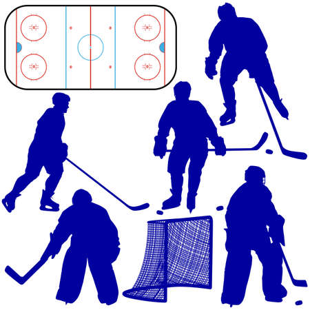 Set of silhouettes of hockey player. Isolated on white illustrations. Vector
