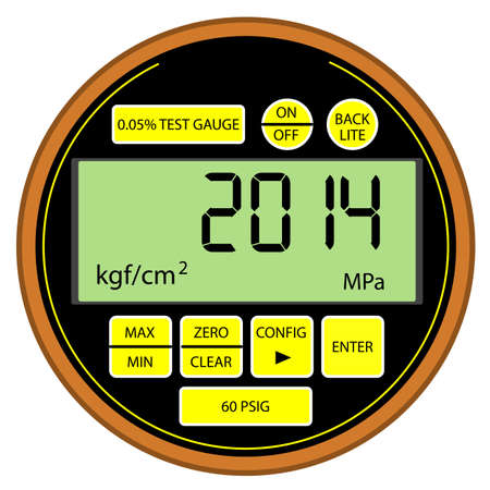 2014 New Year modern digital gas manometer isolated on white background Vector