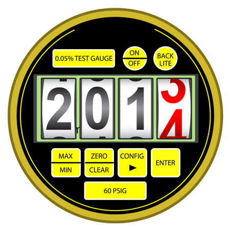 manometer: 2014 New Year modern digital gas manometer isolated on white background Illustration