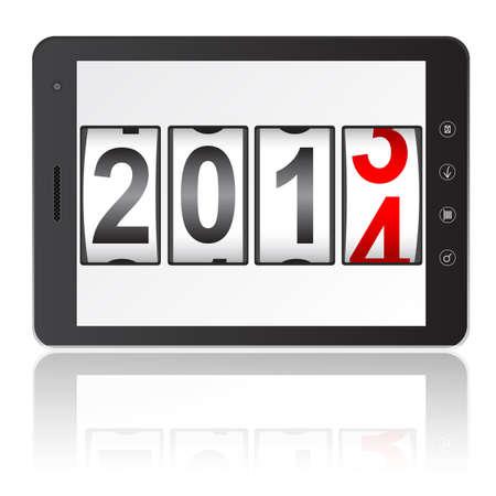 흰색 배경 그림에 격리 2014 신년 카운터와 태블릿 PC 컴퓨터. 일러스트