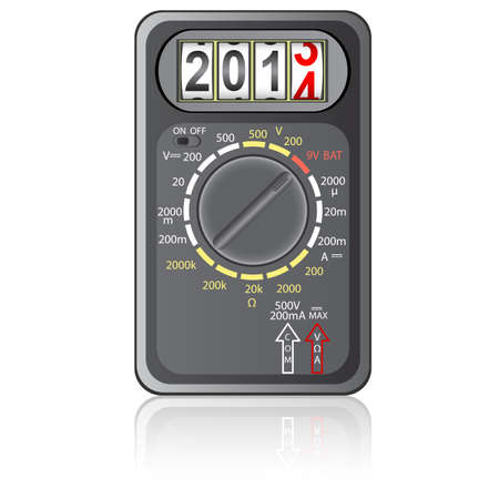 impedance: 2014 New Year Multimeter  on a white background