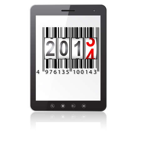 Tablet PC computer with 2014 New Year counter, barcode isolated on white background  illustration. Stock Vector - 17986695