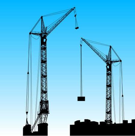 Silhouette of two cranes working on the building illustration. Stock Vector - 17986977