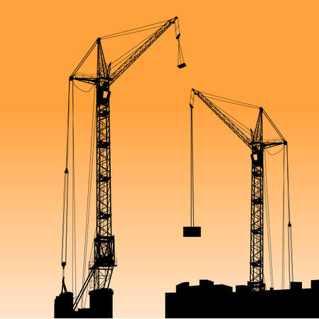 Silhouette of two cranes working on the building illustration. Stock Vector - 17986984