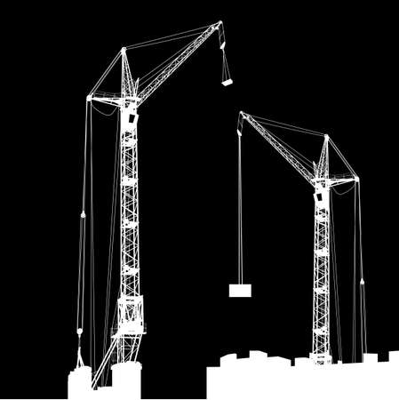 Silhouette of two cranes working on the building illustration. Vector