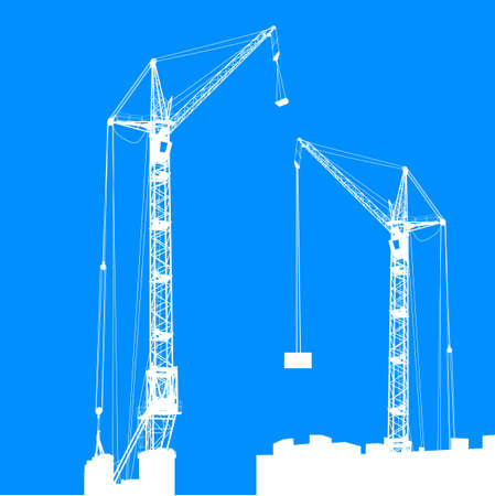 Silhouette of two cranes working on the building illustration. Stock Vector - 17987010