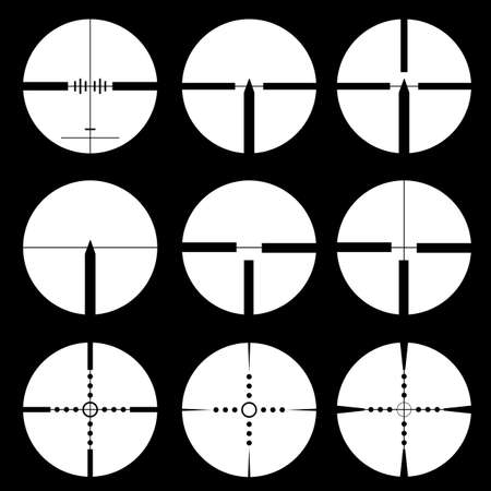 Cross hair and target set illustration  Vector